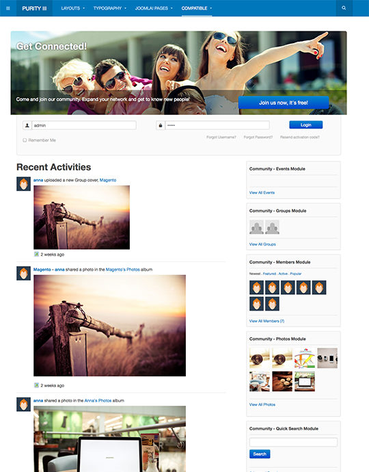 Free joomla template for Jomsocial community Joomla extension - JA Purity III