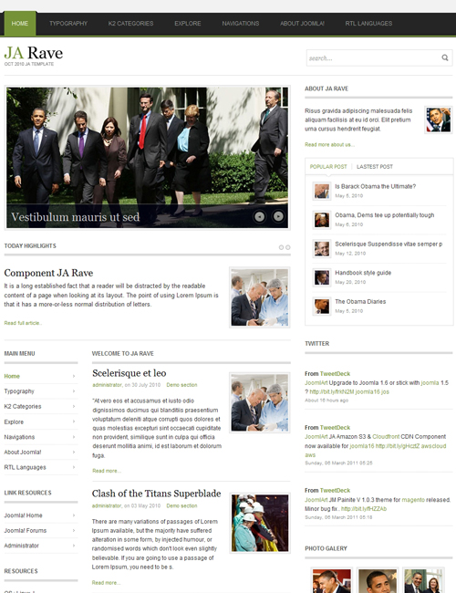 Political Joomla Template for politics, campaigns, elections websites green theme - JA Rave