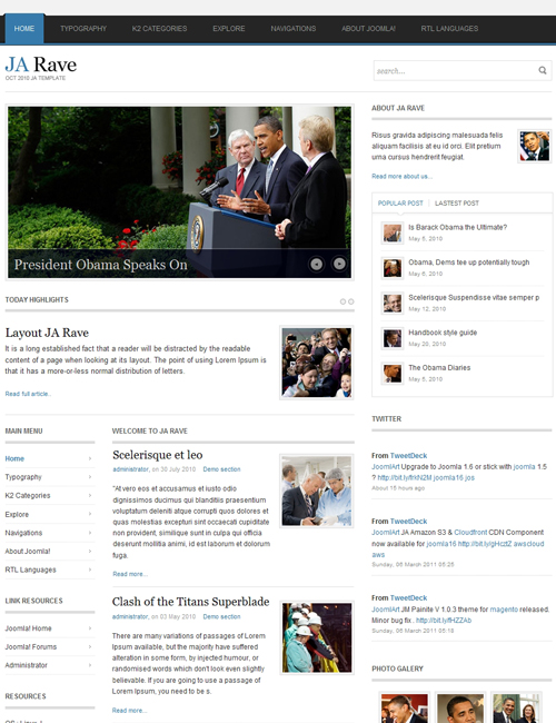 Political Joomla Template for politics, campaigns, elections websites - JA Rave