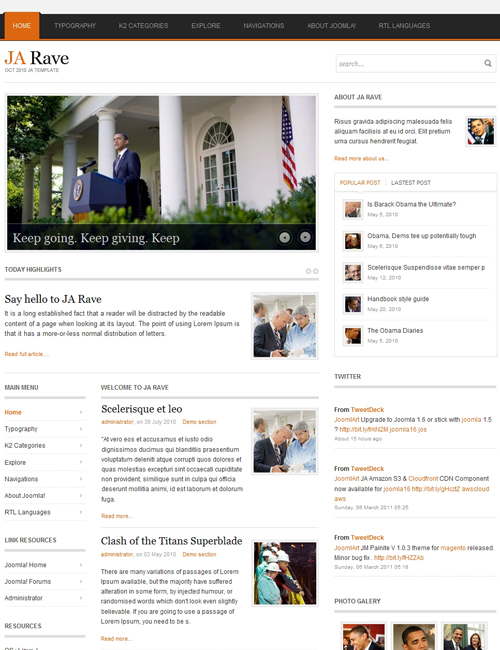 Political Joomla Template for politics, campaigns, elections websites oragne theme - JA Rave