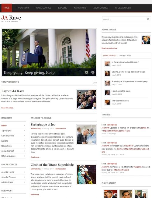 Political Joomla Template for politics, campaigns, elections websites red theme - JA Rave