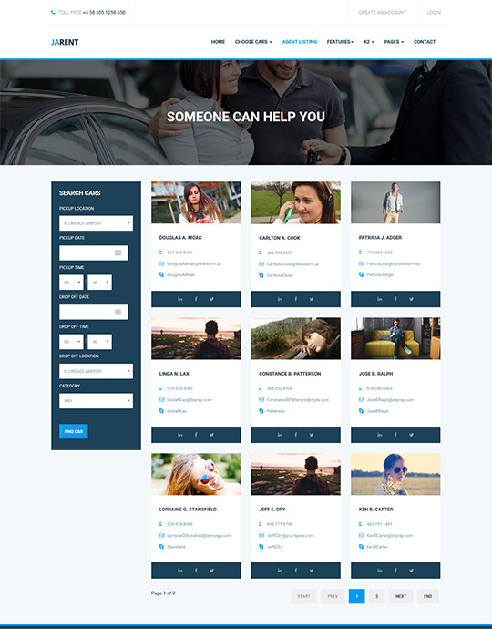 Rent car Joomla template - JA Rent