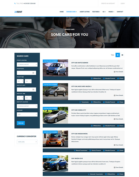 Car rental service joomla template - JA Rent