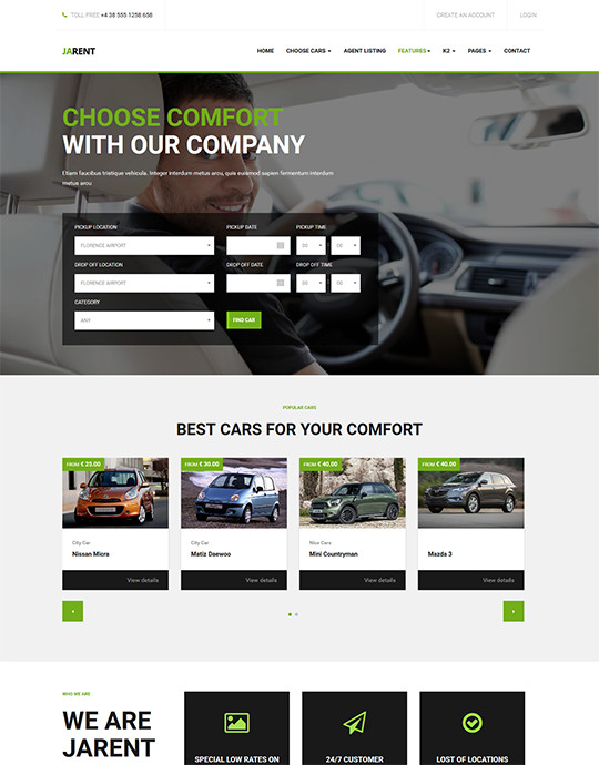 Joomla template for car rental website green theme - JA Rent