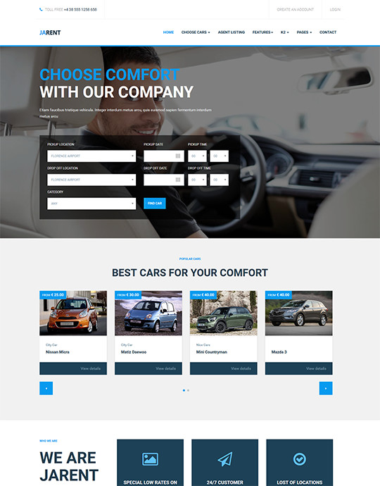 Joomla template for car rental website - JA Rent