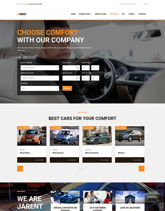 Orange theme Joomla template for car rental website - JA Rent