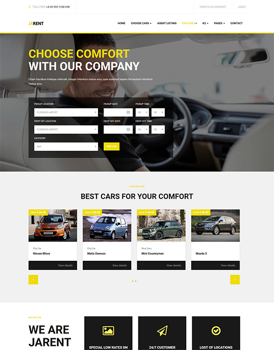 Joomla template for car rental website yellow theme - JA Rent