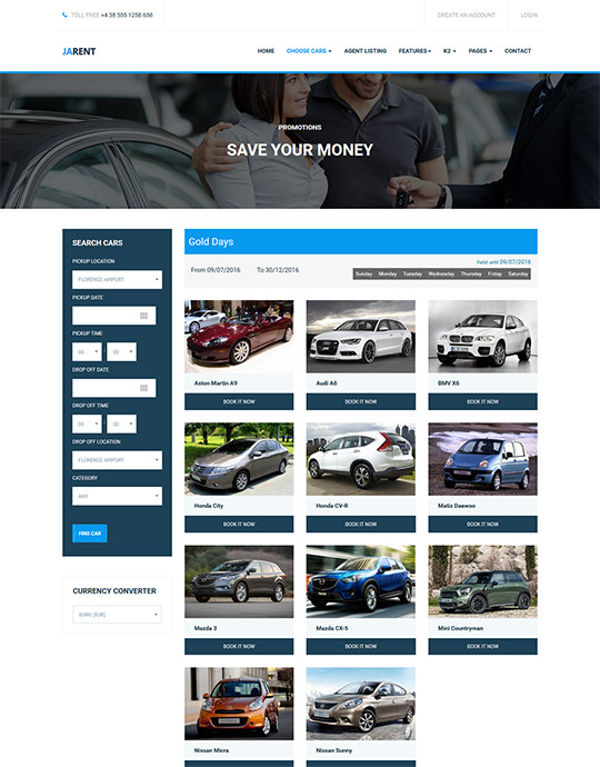 Joomla template for car rental service - JA Rent