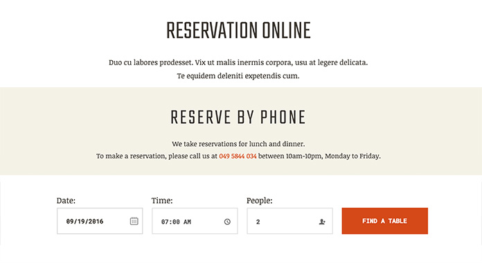 table reservation template