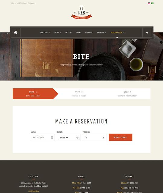 Restaurant Cafe Bar Joomla Template open table reservation - JA Restaurant