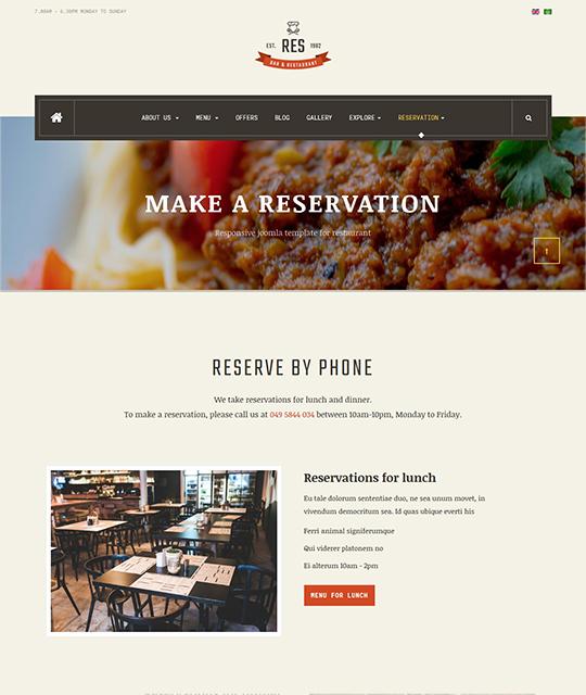 Restaurant Cafe Bar Joomla Template phone reservation layout - JA Restaurant