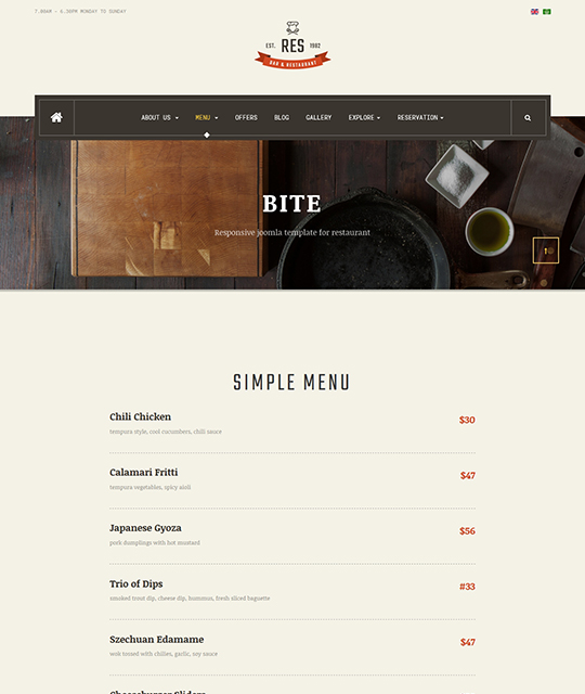 Responsive Restaurant Cafe Bar Joomla template - JA ...