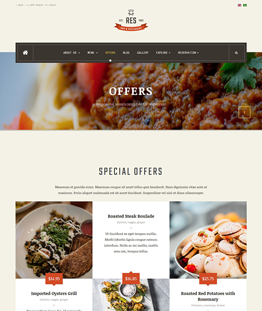 Restaurant Cafe Bar Joomla Template special offers layout - JA Restaurant