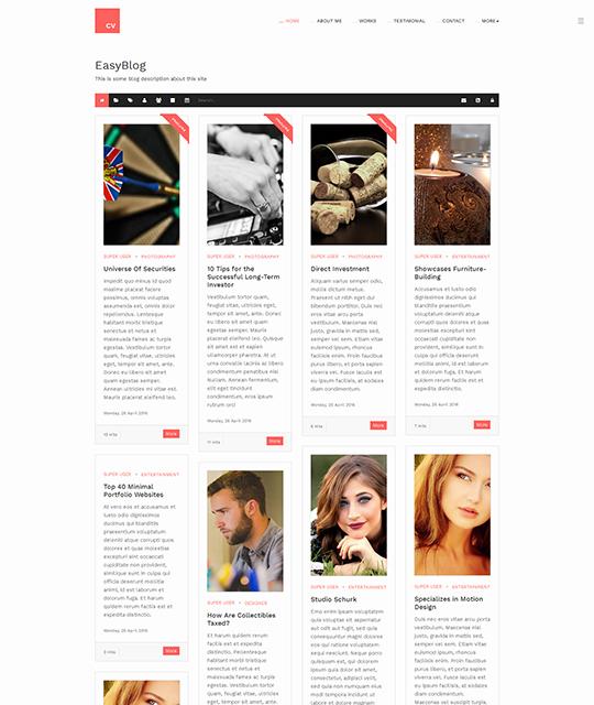Resume Portfolio Joomla Template Easyblog Theme - JA Resume