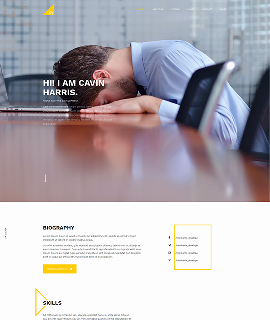 Resume Portfolio Joomla Template homepage developer - JA Resume