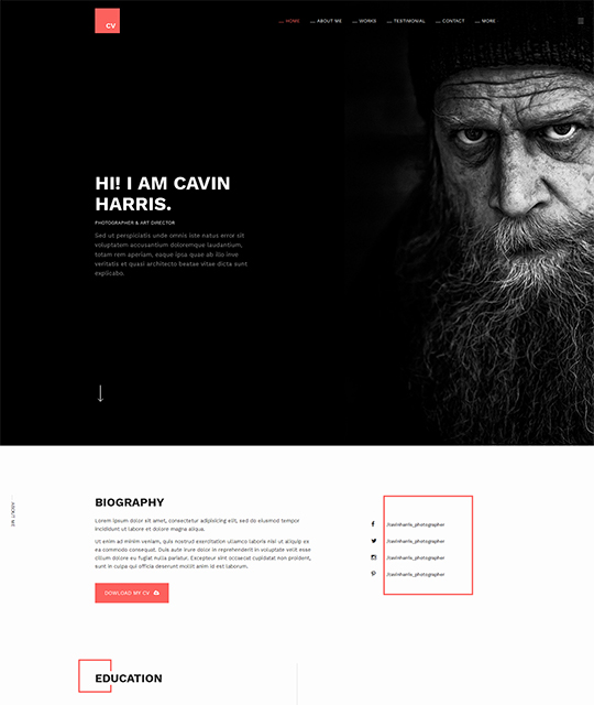 Resume Portfolio Joomla Template homepage photographer - JA Resume