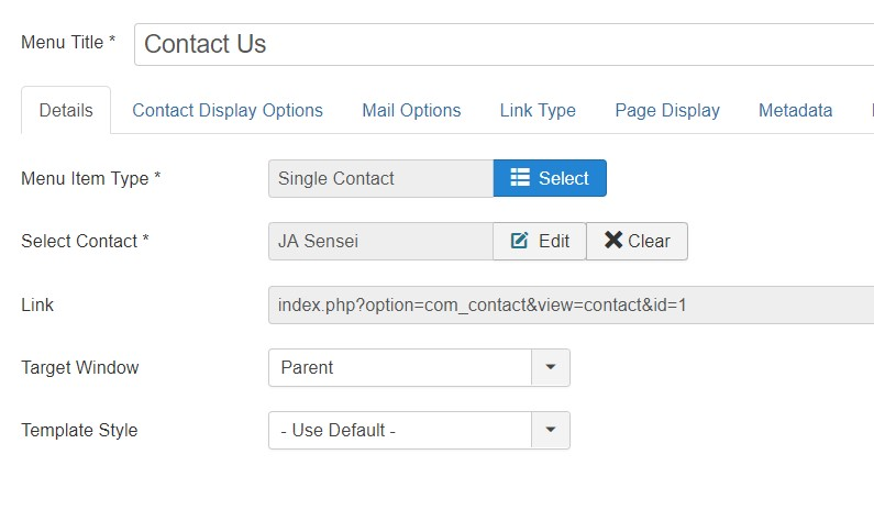 creat contact menu item in joomla