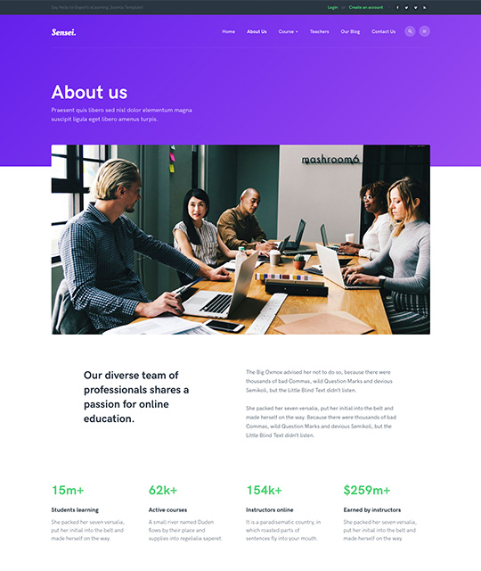 Education Joomla template About us page - JA Sensei