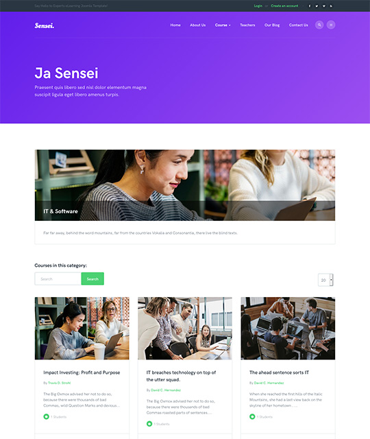 Course list page Joomla template - JA Sensei