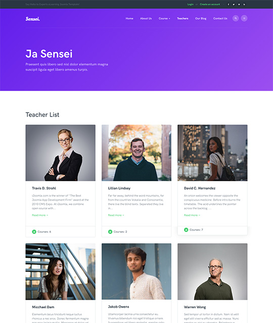 Teacher list page Joomla template - JA Sensei