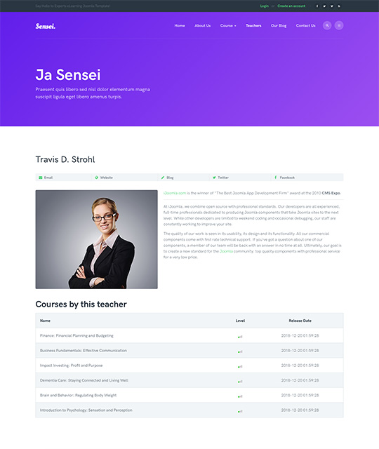 Teacher detail page Joomla template - JA Sensei