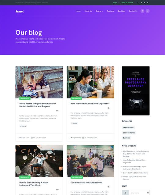 Blog Joomla template - JA Sensei