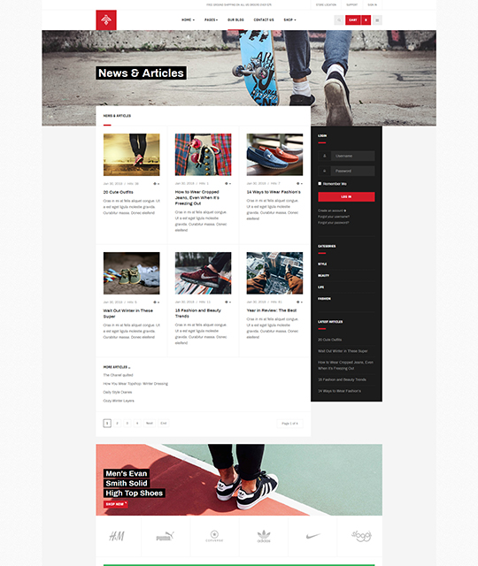 Sports Ecommerce Joomla template blog layout - JA Shoe