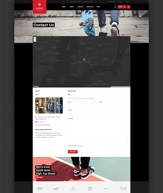Sports Ecommerce Joomla template contact us page - JA Shoe