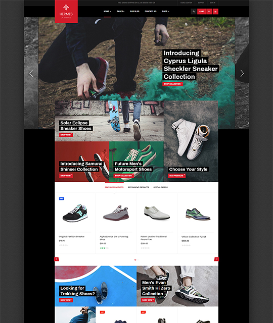 Sports Ecommerce Joomla template homepage - JA Shoe