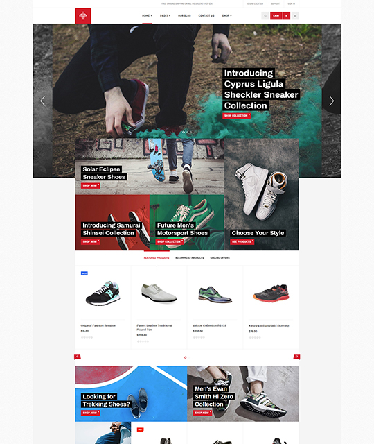 Sports Ecommerce Joomla template homepage layout light - JA Shoe