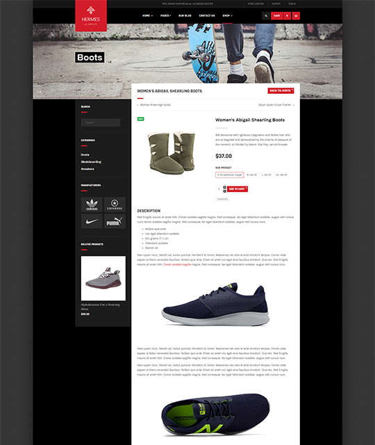 Sports Ecommerce Joomla template product page layout - JA Shoe