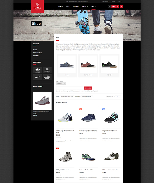 Sports Ecommerce Joomla template shop layout - JA Shoe