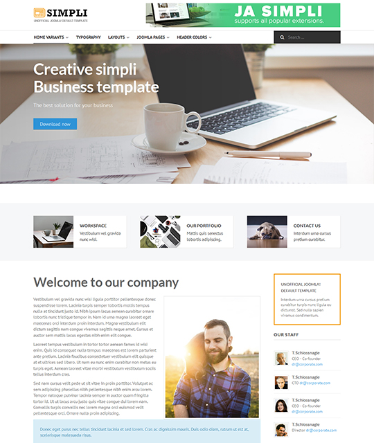 Free Joomla template with corporate layout - JA Simpli