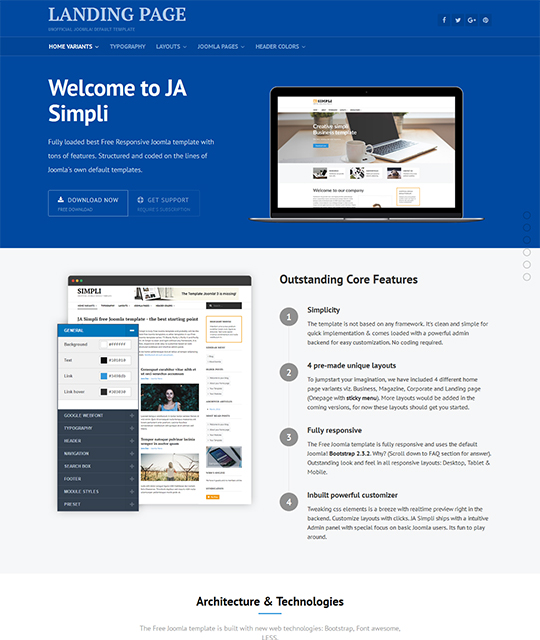 Free Joomla template for landing Pages - JA Simpli