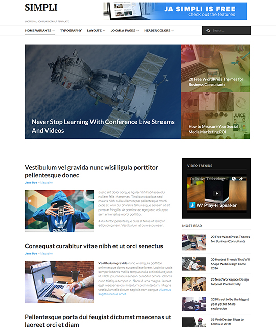 Free Joomla template with magazine layout - JA Simpli