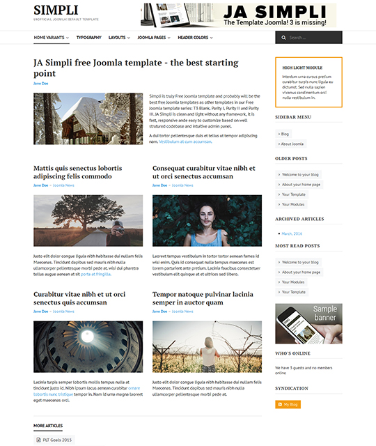Free Joomla template with simple layout - JA Simpli