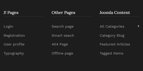 default joomla pages