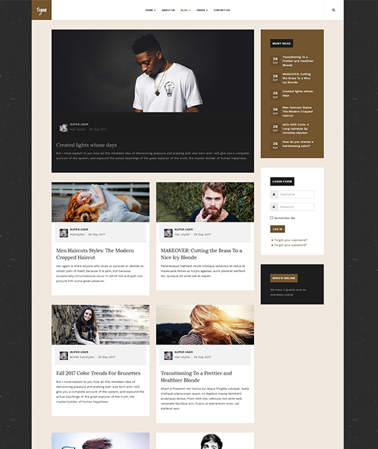 Small Business Joomla Template blog layout 2 column - JA Small Biz
