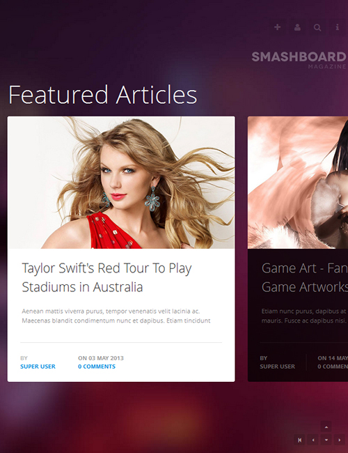 Showcase Joomla template - JA Smashboard desktop layout
