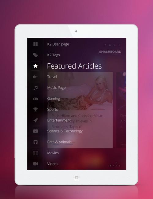 Showcase Joomla template - JA Smashboard responsive ipad view