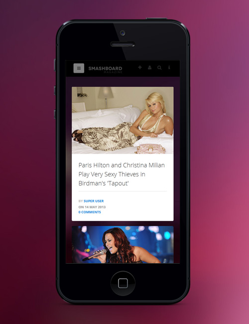 Showcase Joomla template - JA Smashboard responsive iphone view