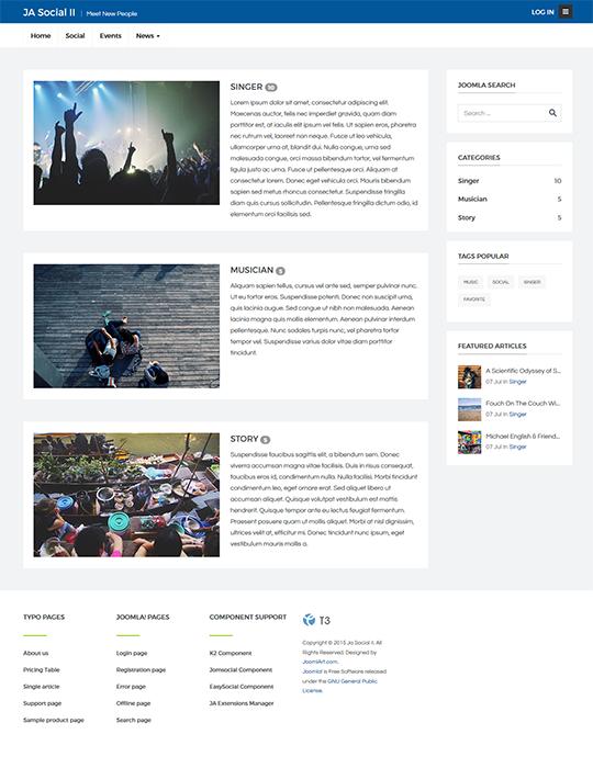 Jomsocial Joomla template events page - JA Social II