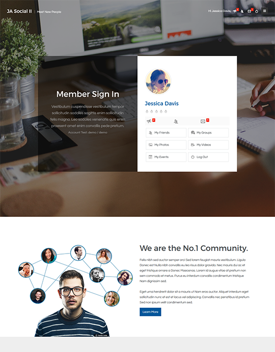 Joomla template for Social and community websites - JA Social II