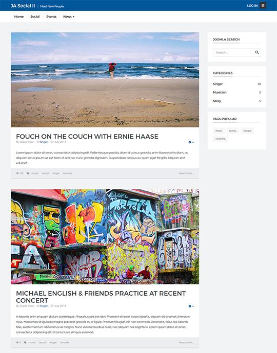 Social Joomla template news page - JA Social II