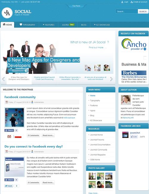 social Joomla template - JA Social Community page