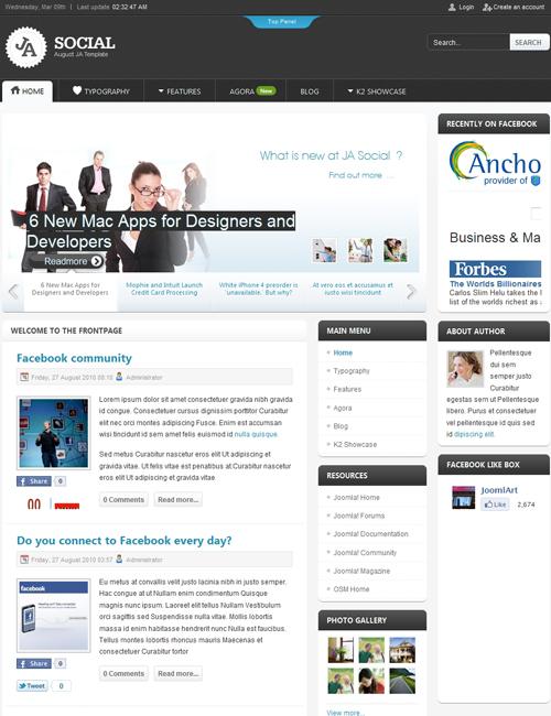 social Joomla template - JA Social responsive social dark theme