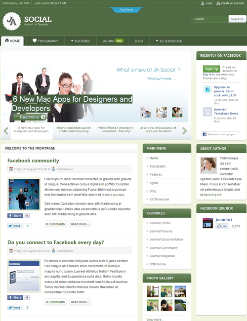 social Joomla template - JA Social iphone view green theme