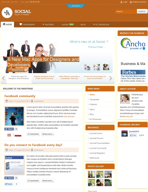 social Joomla template - JA Social orange theme