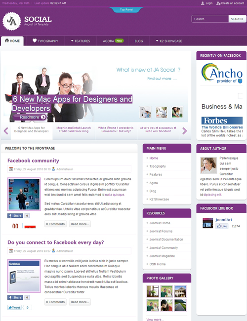 social Joomla template - JA Social purple theme