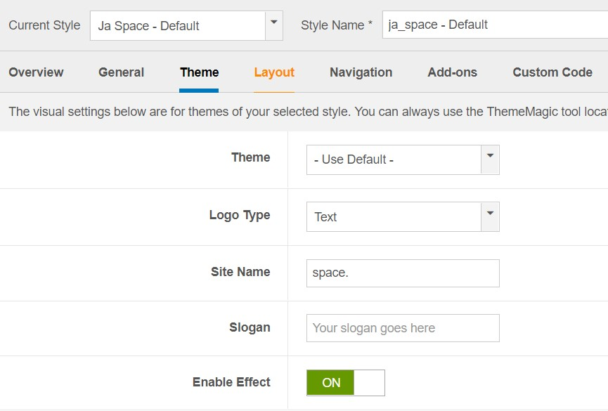 JA Space Theme Settings